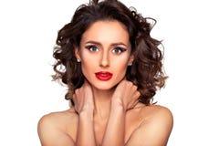 Piękny nagi mody kobiety model z fachowym makeup fotografia royalty free