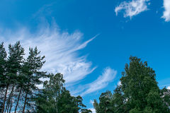Piękny niebieskie niebo z chmurami Zdjęcia Royalty Free