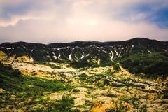 Piękny niebo w Legendarnej dolinie gejzery, Kamchatka, Fotografia Royalty Free