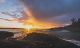 Piękny oceanu zmierzch w Tofino, BC Obraz Royalty Free
