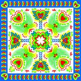 Piękny ornament dla kwadratowej poduszki z fantazja kwiatu ornamentem Obraz Stock
