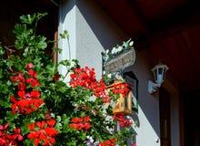 Piękny pensjonat z tarasem w Alsace, Francja Alpejski styl Zdjęcia Stock