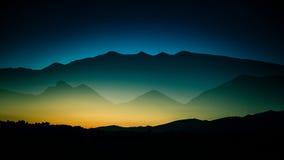Piękny perspektywiczny widok nad góry z gradientem Zdjęcia Stock