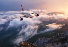 Piękny samolot lata nad niskimi chmurami przy zmierzchem Obrazy Royalty Free
