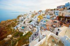 Piękny scenary i domy Santorini Fotografia Stock