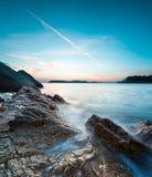 Piękny seascape blisko Dubrovnik w Adriatyckim morzu przy zmierzchem Obrazy Royalty Free