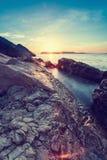 Piękny seascape blisko Dubrovnik w Adriatyckim morzu przy zmierzchem Zdjęcie Royalty Free