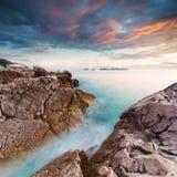 Piękny seascape blisko Dubrovnik w Adriatyckim morzu przy zmierzchem Obraz Royalty Free