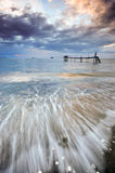 Piękny Seascape z ruchem macha dla przedpola Fotografia Stock