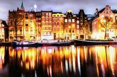 Piękny spokojny noc widok Amsterdam miasto Pracy w st Fotografia Stock
