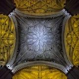 Piękny sufit w katedrze w Seville, Hiszpania Obrazy Royalty Free