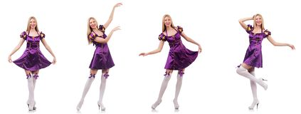 Pi?kny tancerz w purpury sukni obraz stock
