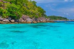 Pi?kny tropikalny piaskowatej pla?y i bujny zielony ulistnienie na tropikalnej wyspie, Similan wyspy Tajlandia zdjęcie royalty free