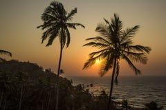 Piękny tropikalny zmierzch w Goa India Fotografia Royalty Free