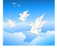 Piękny trzy Pegasus latanie Zdjęcie Stock