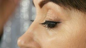 Pi?kny w ?rednim wieku doros?ego model z niebieskimi oczami stosuje eyeliner zbli?enie Profesjonalista uzupe?nia artysty stosuje  zdjęcie wideo