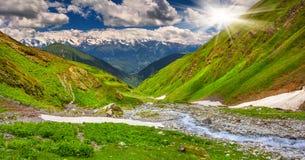 Piękny walley w Kaukaz górach Zdjęcie Stock