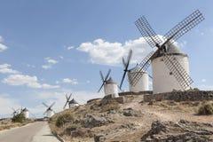 Piękny wiatraczek w Consuegra, Toledo, Hiszpania Obrazy Stock