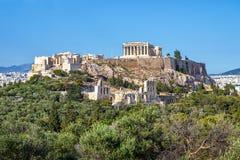 Piękny widok akropol w Ateny, Grecja Zdjęcie Stock