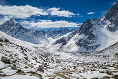 Piękny widok Ama Dablam i Kanthega szczyty Fotografia Stock