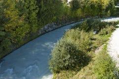 Piękny widok Boite rzeka w Cortina d ` Ampezzo, Dolomiti góry, Alps, Veneto Fotografia Royalty Free