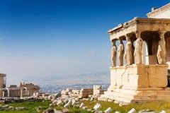 Piękny widok Erechtheion w Ateny, Grecja Zdjęcia Stock