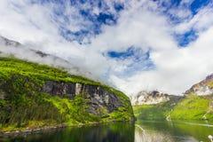 Piękny widok Geirangerfjord, Norwegia Obrazy Royalty Free