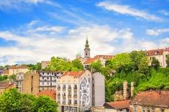Piękny widok historyczny centrum Belgrade na bankach Sava rzeka, Serbia Zdjęcie Royalty Free