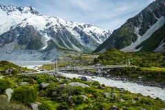 Piękny widok i lodowiec w górze Gotujemy parka narodowego Fotografia Royalty Free