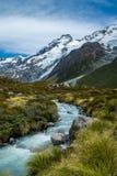 Piękny widok i lodowiec w górze Gotujemy parka narodowego Fotografia Stock