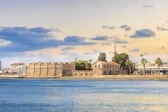 Piękny widok kasztel Larnaka, na wyspie Cypr Zdjęcie Royalty Free
