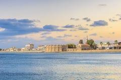 Piękny widok kasztel Larnaka, na wyspie Cypr Fotografia Royalty Free