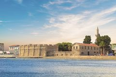 Piękny widok kasztel Larnaka, na wyspie Cypr Obraz Stock