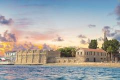 Piękny widok kasztel Larnaka, na wyspie Cypr Zdjęcia Stock