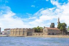 Piękny widok kasztel Larnaka, na wyspie Cypr Obraz Royalty Free