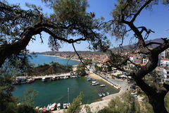 Piękny widok marina zatoka w Grecja Fotografia Stock