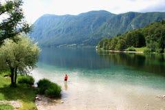 Piękny widok na jeziornym Bohinj w Slovenia Zdjęcie Royalty Free