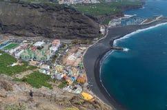 Piękny widok na Puerto de Tazacorte, wyspy kanaryjska, Hiszpania Zdjęcie Stock