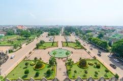Piękny widok od Patuxay Zdjęcia Stock