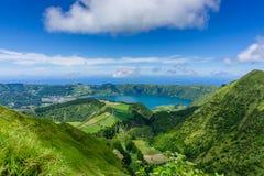 Piękny widok Siedem miast Jeziornych Fotografia Stock