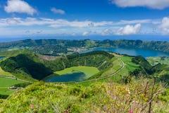 Piękny widok Siedem miast Jeziornych Obrazy Stock