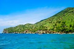 Piękny widok Taganga zatoka Santa Marta, perfect harmonia w, naturze, górach i morzu w Kolumbia, Zdjęcia Stock