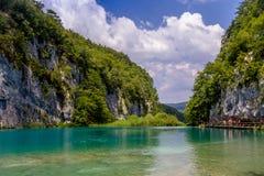 Piękny widok w Plitvice jezior parku narodowym Chorwacja Obraz Stock