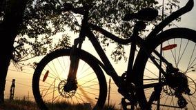 Pi?kny zako?czenie w g?r? sceny bicykl przy zmierzchem zdjęcie wideo
