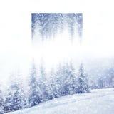 Piękny zimy landscape Geometryczny odbicie skutek Fotografia Royalty Free