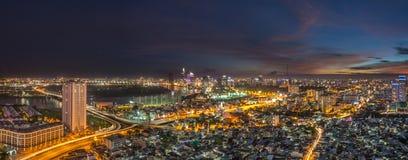 Piękny zmierzch Ho Chi Minh miasta linia horyzontu Obraz Stock