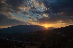Piękny zmierzch, Ioannina, Grecja Zdjęcie Stock