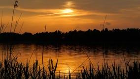 Piękny zmierzch na Dnipro rzece Fotografia Royalty Free