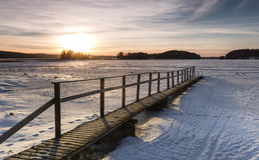 Piękny zmierzch na zima dniu Obraz Stock