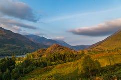 Piękny zmierzch przy Loch leven w Szkocja, Wielki Brittain zdjęcie royalty free